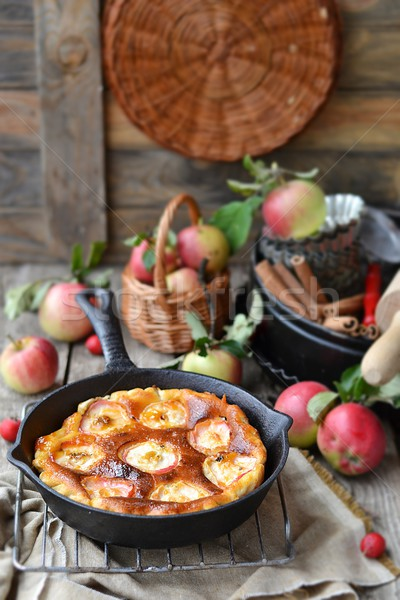 Rústico manzanas pie verano leche Foto stock © zoryanchik