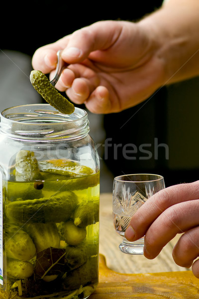 Stock photo: pickled cucumbers   on a fork