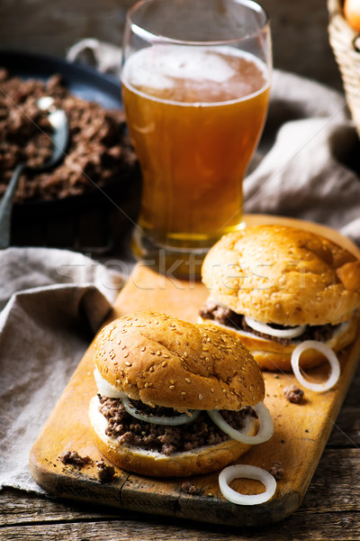 sandwich with ground  beef and onion Stock photo © zoryanchik