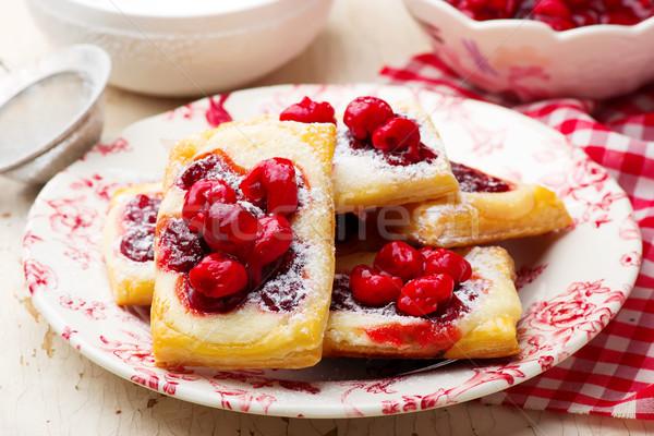 Вишневое кремом сыра избирательный подход продовольствие завтрак Сток-фото © zoryanchik