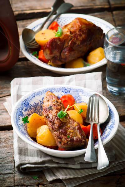 Cielęcina gulasz rustykalny selektywne focus żywności gotowania Zdjęcia stock © zoryanchik