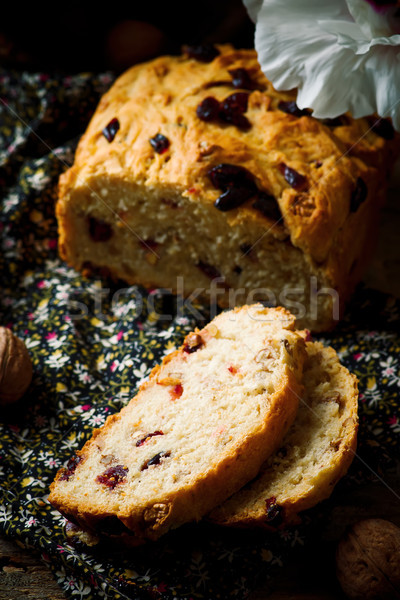 Cranberry and walnut bread baked in the bread machine Stock photo © zoryanchik