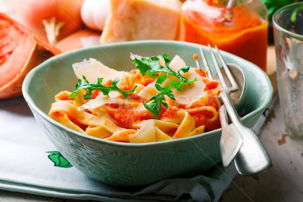 Alfredo pasta sauce with butternut squash, garlic and Parmesan .selective focus Stock photo © zoryanchik