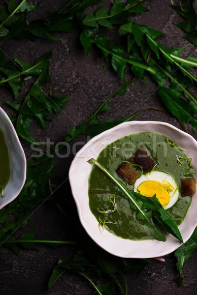 Romig wild knoflook soep paardebloem bladeren Stockfoto © zoryanchik