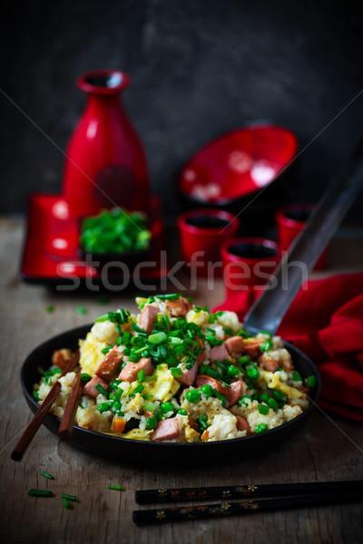 Hot Dog жареный риса рецепт продовольствие зеленый Сток-фото © zoryanchik