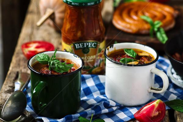 Sütőtök chorizo rusztikus étel piros ebéd Stock fotó © zoryanchik