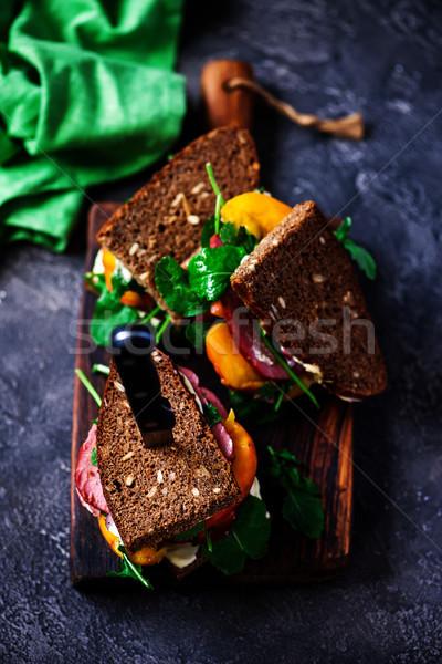 peach and pastrami sandwiches with peppery mayo. Stock photo © zoryanchik