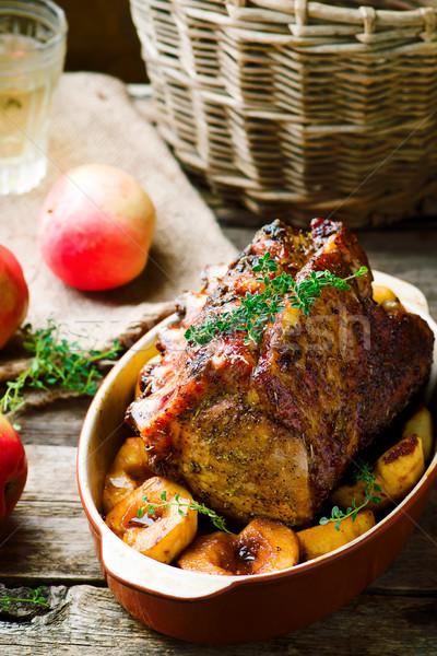 Carne di maiale rack mele alimentare sfondo Foto d'archivio © zoryanchik