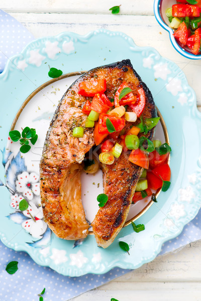 Grilled Salmon Steaks with an Oregano Salsa Stock photo © zoryanchik