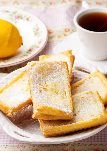 チーズ ペストリー コーヒー 朝食 カップ クリーム ストックフォト © zoryanchik