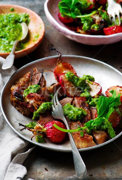 редис деревенский фон мяса овощей Сток-фото © zoryanchik