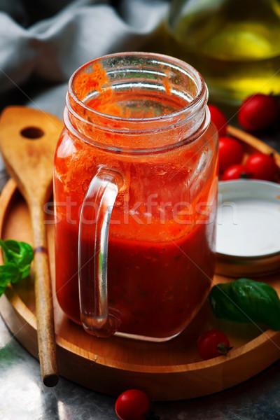 Homemade MARINARA SAUCEin the glass  jar  Stock photo © zoryanchik
