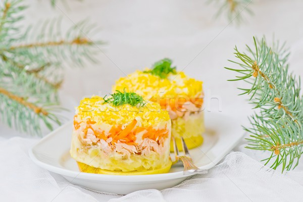 traditional Russian salad with a salmon Mimosa Stock photo © zoryanchik