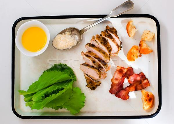 Ensalada cesar estilo vintage superior vista alimentos Foto stock © zoryanchik