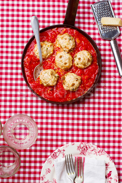 chicken meatballs with tomato sauce in a frying pan. style vintage Stock photo © zoryanchik