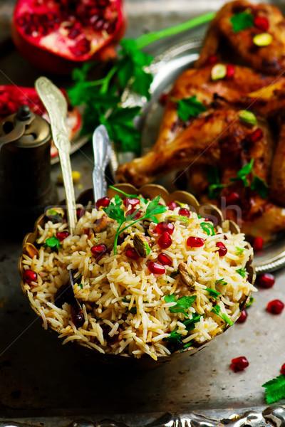 Persian Honey Glazed Chicken and Jeweled Rice Stock photo © zoryanchik