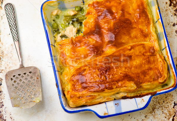 Puff pastry pie with chicken and vegetables Stock photo © zoryanchik
