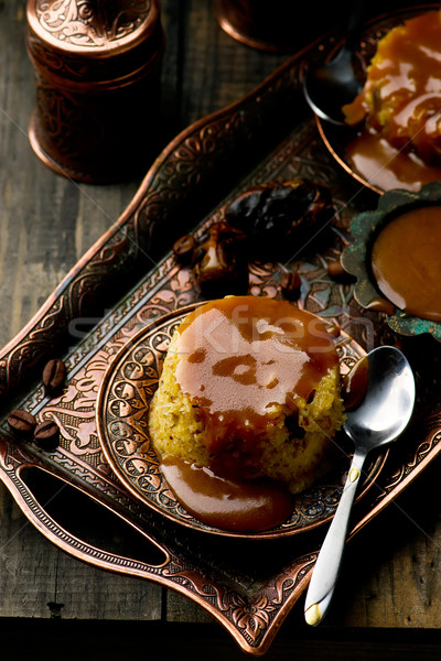 date pudding with caramel Stock photo © zoryanchik
