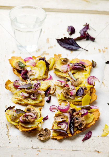 CHICKPEA FLOUR FLATBREAD With NEW POTATOES Stock photo © zoryanchik
