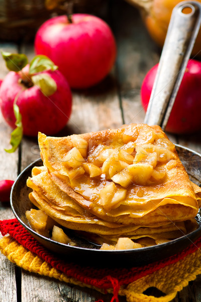 pumpkin crepes with cinnamon apples Stock photo © zoryanchik