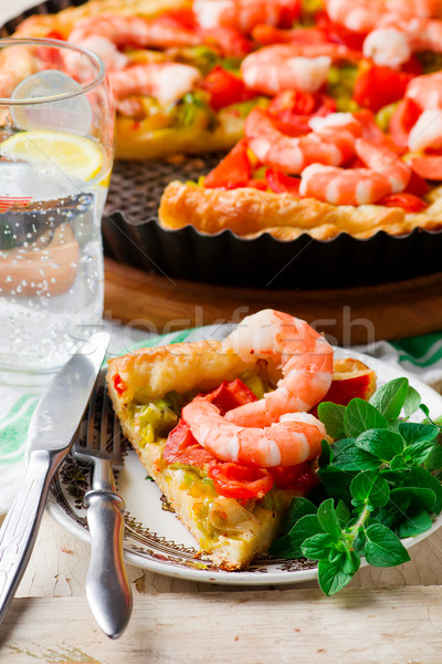 Crevettes poireau sarriette tarte fromages rouge Photo stock © zoryanchik