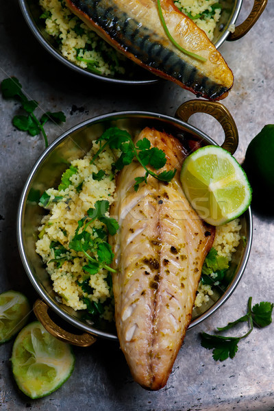 Grilled mackerel with harissa , coriander couscous.style rustic Stock photo © zoryanchik