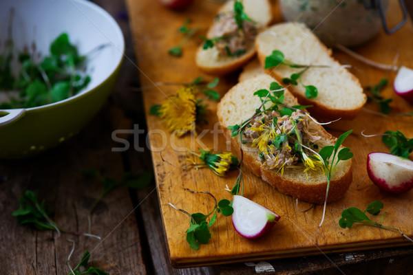 Tavasz tonhal saláta rusztikus étel zöld tyúk Stock fotó © zoryanchik