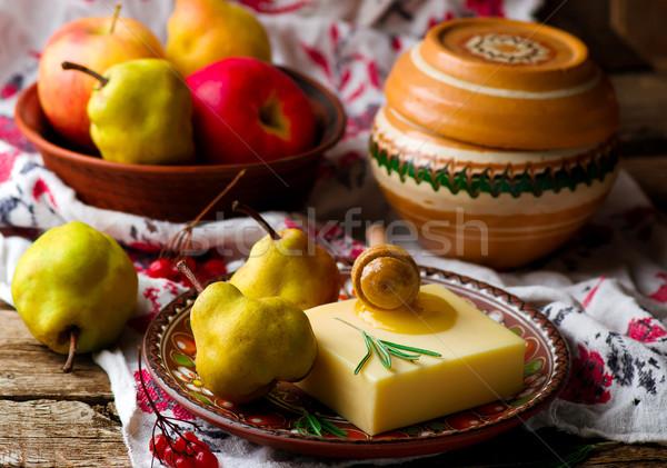 Slices of sheep  cheese Stock photo © zoryanchik