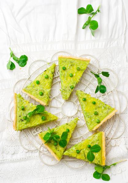 vegetable tart with green peas Stock photo © zoryanchik