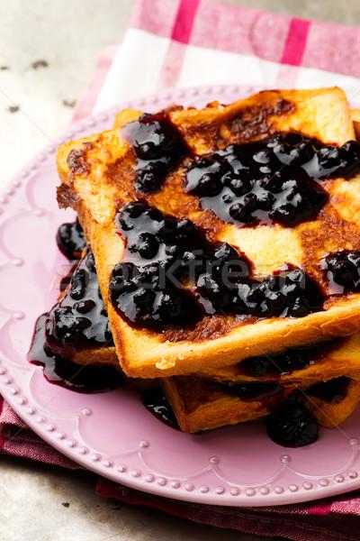フランス語 トースト ブルーベリー ソース 食品 フルーツ ストックフォト © zoryanchik