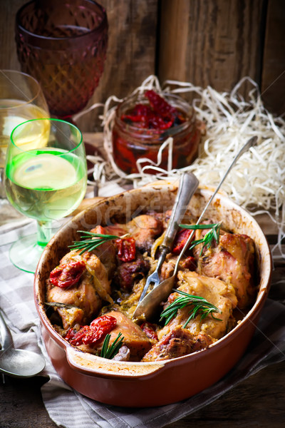 Braised rabbit  with vegetables. Stock photo © zoryanchik