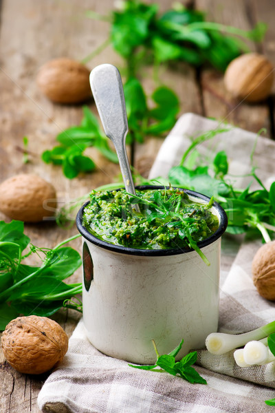 Menthe pesto style rustique printemps alimentaire Photo stock © zoryanchik