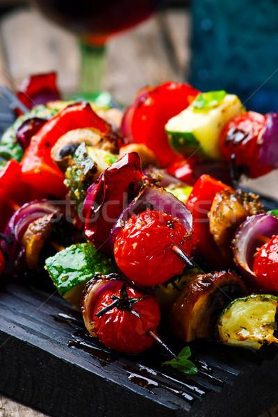 Grillowany warzyw pokładzie świeże grill posiłek Zdjęcia stock © zoryanchik