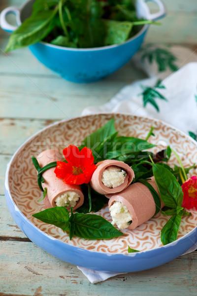 mortadella and ricotta rolls for a breakfast Stock photo © zoryanchik
