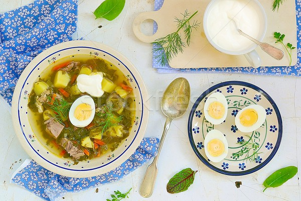 Jaj śmietana zupa tablicy tabeli wiosną Zdjęcia stock © zoryanchik