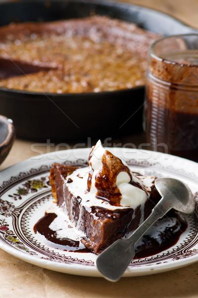 Csokoládé baba vasaló serpenyő stílus étel Stock fotó © zoryanchik
