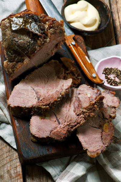 Carne de porco estilo rústico carne conselho vegetal Foto stock © zoryanchik