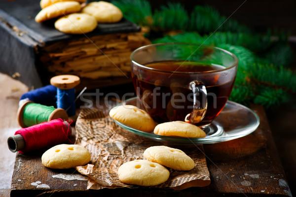 Botón rústico desayuno blanco frescos dulce Foto stock © zoryanchik