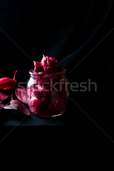 whipped blueberry butter in glass jar. Stock photo © zoryanchik