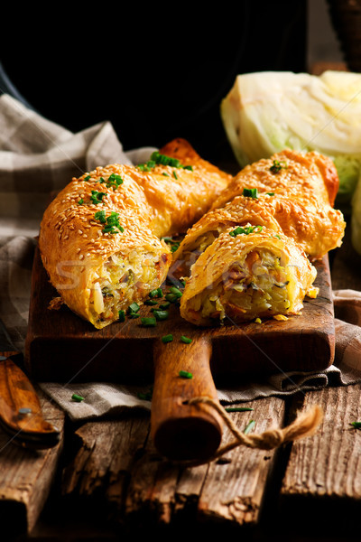 Cabbage strudel. rustic style.selective focus.  Stock photo © zoryanchik