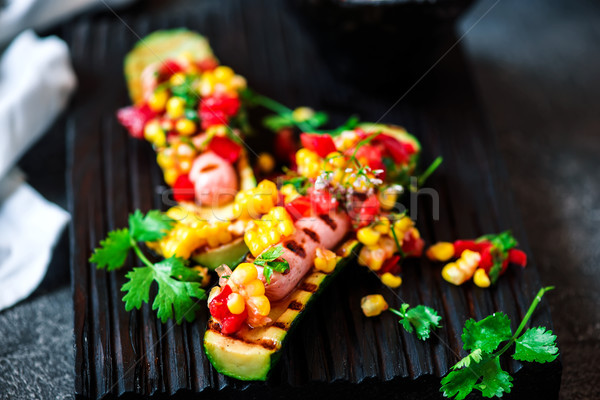zucchini bun hot dog. Stock photo © zoryanchik