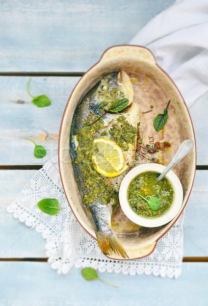 Balık pesto sos yeşil Stok fotoğraf © zoryanchik