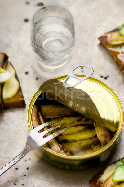 tinned sprats Stock photo © zoryanchik