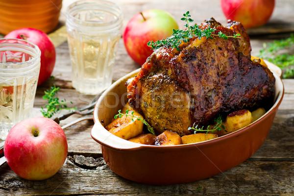 Сток-фото: свинина · стойку · яблоки · продовольствие · фон