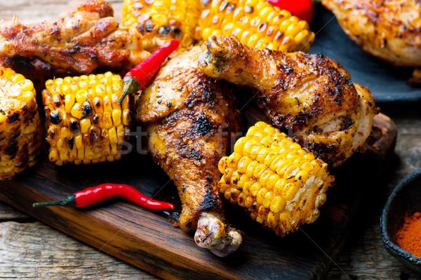 Cajun tavuk mısır akşam yemeği et öğle yemeği Stok fotoğraf © zoryanchik