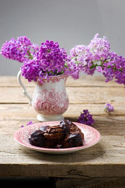 Chocolate sanduíche bolinhos doce bolinhos Foto stock © zoryanchik
