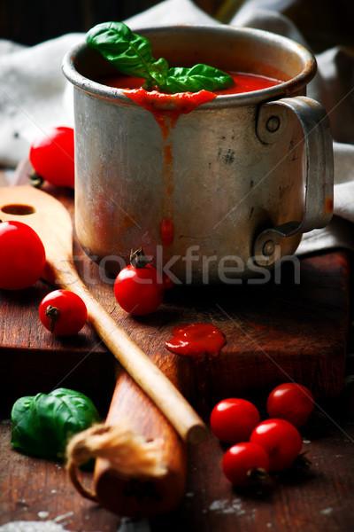 Homemade MARINARA SAUCEin the metal  jar  Stock photo © zoryanchik