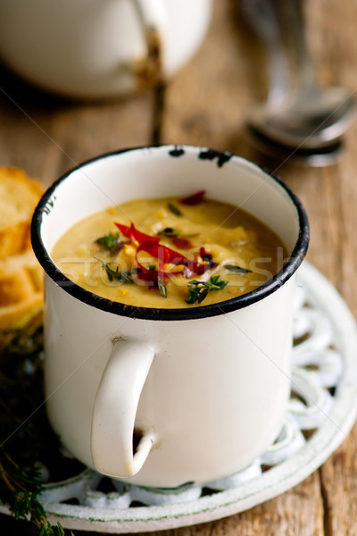 spiced red lentil and root vegetable soup vegan Stock photo © zoryanchik