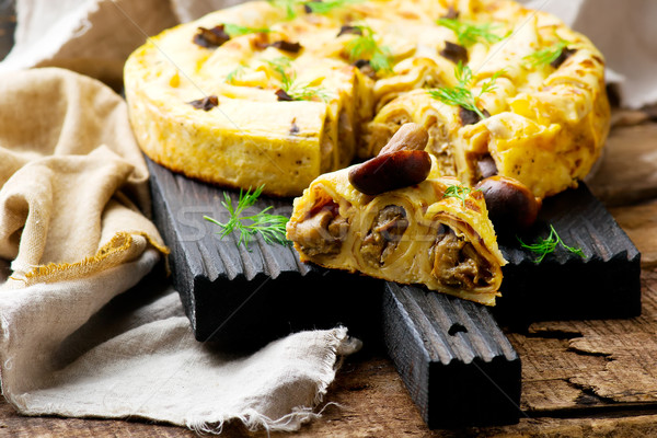 BLINIS PIE with forest mushrooms. selective focus  Stock photo © zoryanchik