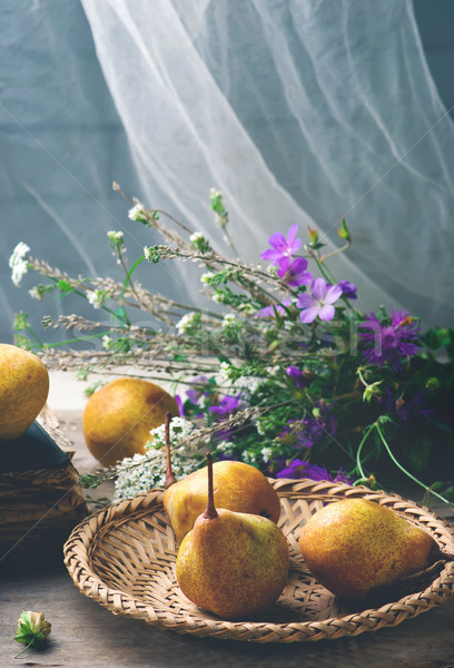 Autumn still life with pears and flowers  Stock photo © zoryanchik
